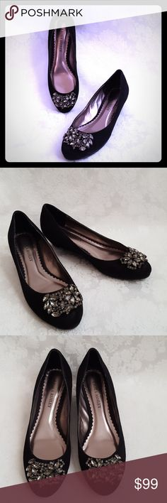 """🔥DISC SHIP🔥New! Laura Ashley Black Suede Wedge Laura Ashley black suede leather wedge heels with 1 1/2"""" heel. Gorgeous jewel design. Style is """"HAYWORTH"""".  Like new! Comes with box. Excellent condition. Smoke free and pet free home.   Check out my other listings - 100's of 👠shoes👠, 👢boots👢 and 👜bags👜. Bundle 2 or more and save money!💲💵💲 Laura Ashley Shoes Wedges"""
