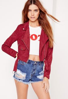 Missguided - Faux Suede Biker Jacket Burgundy