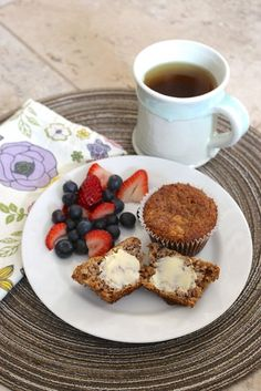 I was a little overzealous in my banana purchases in the week and we had a few that were getting just too ripe to eat. As much as I hate to see them go bad, it's also the justification to turn them… Banana Roll, Oat Muffins, Peppermint Tea, Rolled Oats, Breakfast Recipes, French Toast, Berries, Yummy Food, Treats