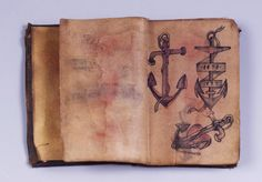 """TATTOO PATTERN BOOK/ Artist unidentified, New York, United States, 1873–1910, ink on oiled cloth, with buckram binding, 4 1/2 × 3 1/4 × 3/4"""" (closed), collection American Folk Art Museum, Anonymous gift, 1995.29.1. Photo credit: Gavin Ashworth."""