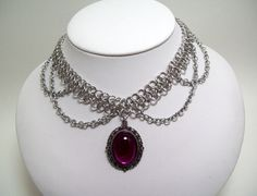 Chainmaille, choker, chainmaille necklace, elegant, cabochon.