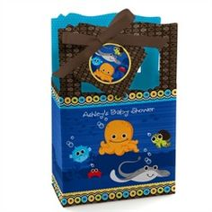 Under The Sea Critters - Classic Personalized Baby Shower Favor Boxes