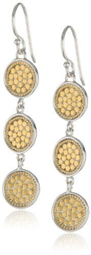 Anna Beck Designs %22Gili%22 18k Gold-Plated Wire Rimmed Triple Disk Drop Earrings