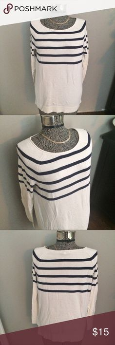 GAP scoop neck striped lightweight sweater GAP lightweight scoop neck navy striped sweater. This is the perfect fall sweater. 100% cotton, good condition. Approximate measurements laying flat: underarm to underarm 20 in, shoulder to hem 23 in,  total arm length including shoulder 27 in. Size medium, off white or cream color with navy stripes. GAP Sweaters Crew & Scoop Necks