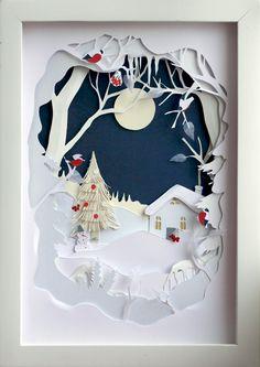 Creative DIY Shadow Box to Surprise Beloved Ones & Beautify Home Interior 3d Paper Art, Paper Artwork, Diy Paper, Paper Artist, Art 3d, Kirigami, Christmas Paper Crafts, Christmas Art, Christmas Decorations