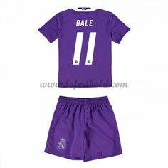 Billige Fodboldsæt Real Madrid Børn 2016-17 Bale 11 Kortærmet Udebanesæt