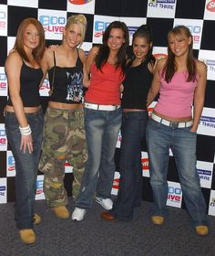 The girls LOVED their slightly shapeless denim (Picture: Jeff Spicer/Alpha) #2000SFashionTrends