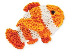 Knit a Clownfish - free pattern.  Looks easy peasy.  You could insert some handwarmer sacks in it b/f you close up.  Make two and what a cute gift that would be!