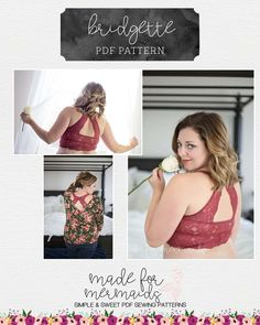 "This is a PDF pattern for instant download for this beautiful WOMEN's size knit bralette or nightie. THIS IS NOT A FINISHED GARMENT, it is for the pattern that show you and teach you step by step how to sew it! Pattern includes not only photo tutorial, but several video tutorials too! Need even more guidance or motivation?? Join our Bridgette & Victoria sew-a-long, starting February 5th HERE! This pattern comes in Women's full bust sizes 30"" to 50"". Plus includes 7 cups ..."
