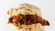 Fried chicken on hot buttered biscuits—what's not to like?