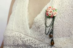 handmade rose brooch handmade rose  antique jewelry by Joyloveclay, $25.00