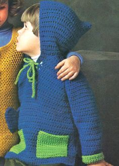 **PDF Instant download crochet pattern** Toddlers Crochet Big Shot Hoodie Pullover Sweater Pattern - 2T to 4T, for Girls or Boys, Vintage 1970s.