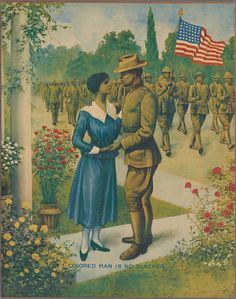 """""""Colored Man is No Slacker"""" - 1917 recruitment poster for African-American enlistment during WWI.The Gilder Lehrman Institute of American History American Veterans, American Soldiers, Black Poets, New Museum, World War One, African American History, American Art, American Life, Wwi"""