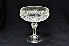 570b76f463f Vintage Indiana Glass Diamond Point Compote 7 1 2