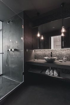 I love the cool tone lighting not the dark bathroom colors