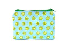 Mini Zipper Pouch / Cute Camera Bag in Turtle Party on Blue Polkadots.