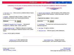"""""""FedStats provides easy access to statistics and information produced by more than 100 U."""" -- One-stop shopping for Federal statistics. Statistical Data, Government Agencies, Electronic Books, Statistics, Economics, Easy Access, Curriculum, Science, Education"""