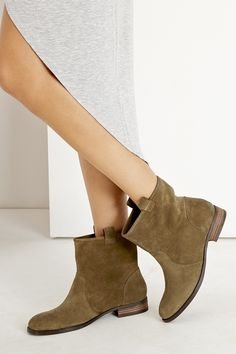 Versatile slip-on booties in army green suede