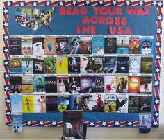 A bulletin board to go along with the Read Your Way book display.