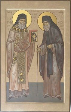 St Porphyrius and St Paisius Byzantine Icons, Byzantine Art, Religious Icons, Religious Art, Faith Of Our Fathers, New Saints, Religious Paintings, Best Icons, Orthodox Christianity