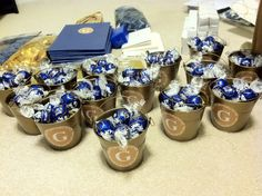 Navy and gold - mini gold pails with personalized sticker and blue candies - wedding dinner favors