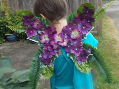 Dark Purple Flower Fairy Wings with Ferns and Green Leaves, Medium Wings for Children or Teens, Woodsy Butterfly Wings, Fairy Costume by FairyFlowerDreams on Etsy