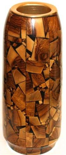 Inlaid Wood Flower Vase   Jerusalem Ware - $90