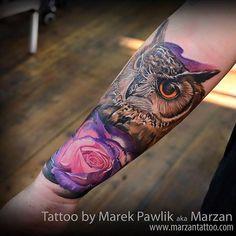 Owl and rose by Marek Pawlik