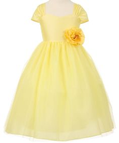 Bonnie - Yellow Dupioni Bodice with Tulle Girl DressYellow Dupioni Bodice & Overlay Tulle Skirt Flower Girl Dress