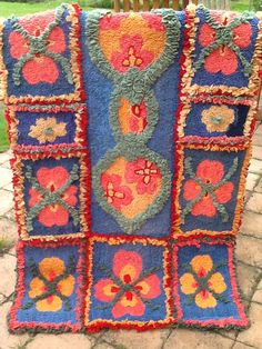 I Love This Rag Rug Made Out Of Hessian And Old Blankets The Colours Are
