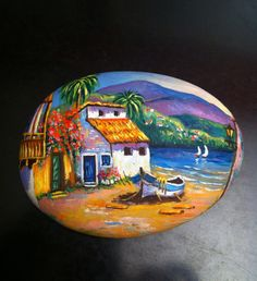 Paisaje canario #piedras #piedraspintadasamano #handmade #pintadoamano #pintadoamanoconamor