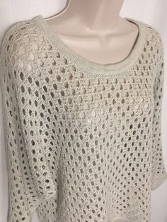 0031017 CAbi Small Seaside Oversized Open Knit Crochet Cropped S Sweater #707 #CAbi #Sweater #Casual
