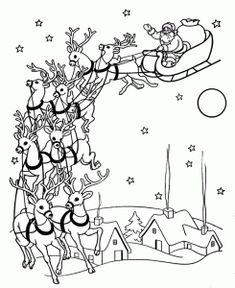 christmas santas reindeer coloring pages
