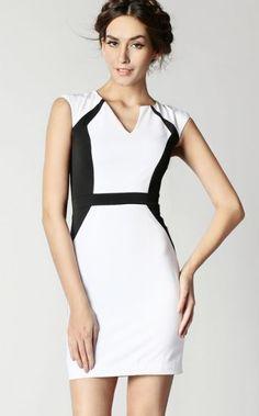 White Contrast Black V Neck Sleeveless Zipper Dress pictures