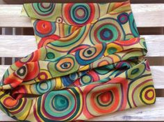 Funny abstract hand painted silk scarf. Rainbow by ArmeniaOnSilk