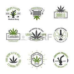 Set of medical marijuana logos Cannabis badges labels and logos Stock Vector