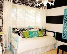 Image result for black and white turquoise room