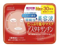 Kose Clear Turn Essence Facial Mask with Astaxanthin - 30 masks by CLEAR TURN. $19.93. Three-layer soft sheet made with environmentally friendly materials holds more liquid and fits curves of your face well.. 30 Masks in their own convenient storage container.. Uses deep ocean water to hydrate skin and keep skin soft.. Weakly acidic, no fragrance, no colorant, and no alcohol.. Made in Japan, comes with English usage instructions and ingredients.. Clear Turn makes it ...