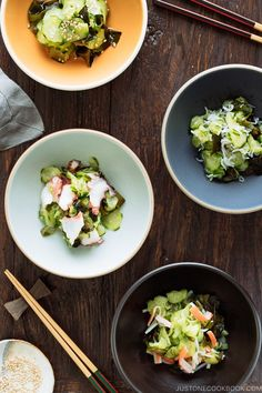 Make this easy and delicious Sunomono #Japanese #CucumberSalad 4 ways (classic, octopus, baby anchovies, and crab)! きゅうりとワカメの酢の物 #JapaneseFood #AsianFood #Potluck | Easy Japanese Recipes at JustOneCookbook.com