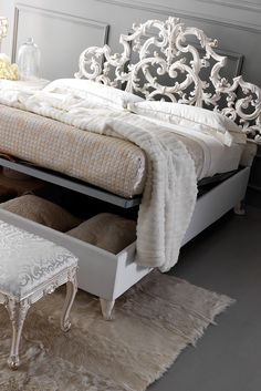 The Ornate Rococo Reproduction Italian Storage Bed at Juliette's Interiors is a beautiful addition to any interior. Sophisticated style enhanced by intertwined classic-style leaves, above all hiding all the practicality of a storage bed with luxury!
