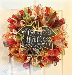 Fall Wreath/Thanksgiving Wreath/ Harvest by Wreaths4u2byPaula