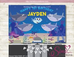 Super Simple Baby Shark Printable Backdrop Banner