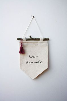 Small Banner be kind Canvas Banner Wall by SmallThingsStudio