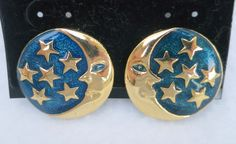 Gold Tone Galaxy Blue Enamel Stars and Moon Clip On Earrings Signed HI by Framarines on Etsy