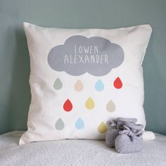 A sweet, on-trend personalised gift for a new baby.Can be personalised with a name or a few words in the cloud. It can also be supplied unpersonalised if you would prefer. Our cushion inners are made by a registered charity that supports disadvantaged women, by purchasing this product you are helping women and children who are in crisis.This printed cushion can be designed with a name in the cloud, the perfect accessory for both a modern or traditional nursery. A lovely gift and keepsake…