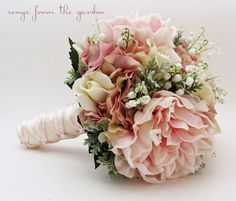 Bridal Bouquet Lily of the Valley Peonies Roses Hydrangea Pink and White- Customize for Your Colors on Etsy, $250.00