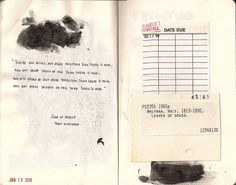 Journal- favorite quotes from books with library cards