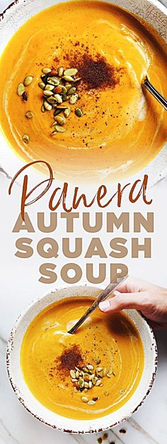 You Have Meals Poisoning More Normally Than You're Thinking That Copycat Panera Autumn Squash Soup - Comforting Flavor, Loaded With Vegetables, And An Easy Slow Cooker Soup Recipe Fall Dinner Recipes, Fall Recipes, Pumpkin Recipes, Autumn Squash Recipes, Best Pumpkin Soup Recipe, Dinner Ideas, Cooker Recipes, Crockpot Recipes, Chicken Recipes