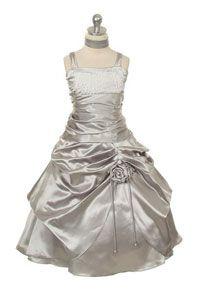 #FlowerGirlDresses - Flower Girl Dress Style 217 - Satin Pick Up Dress with Sequin Detail