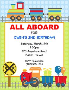 Choo Choo Train Birthday Party Invitations